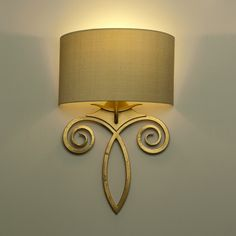 Honfleur Wall Light finished in Old Gold with a Buttermilk Silk Half Shade