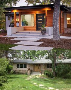 Denver mid-century home gets stunning makeover, completely transforming its curb. - Denver mid-century home gets stunning makeover, completely transforming its curb appeal - Home Exterior Makeover, Exterior Remodel, Design Exterior, Modern Exterior, Modern Home Exteriors, Cafe Exterior, Colonial Exterior, Ranch Exterior, Modern Entry