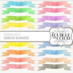 Watercolor Rainbow ribbon banners cliparts by LaBoutiqueDeiColori #scrapbooking #projectlife #digitalpaper #banner #watercolor #scrapbook