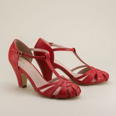 Sergi tstrap vintage shoes in red - beautiful 1920s and 1930s summer shoes by Chelsea Crew - RoyalVintageShoes.com