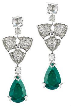 Avakian Diamond and Emerald Earrings (=)