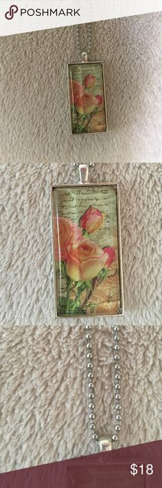 "Shabby chic floral glass tile necklace 24"" shabby chic rose floral glass tile necklace.  A super romantic fashion piece.💋 Jewelry Necklaces"