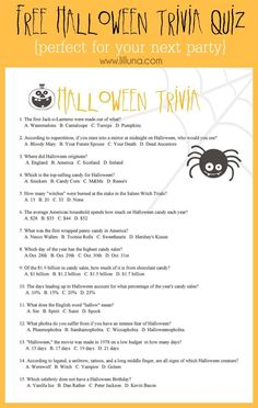 FREE Halloween Trivia game - perfect for your upcoming party!