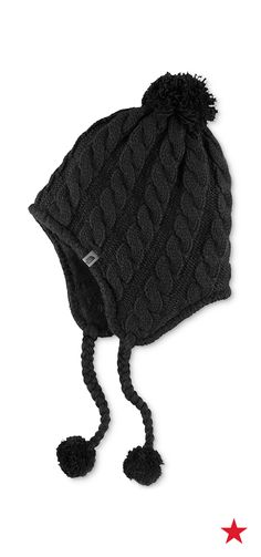 Loving these earflap beanies —the braided trim is so cute, but those pom poms are what really got us! The North Face