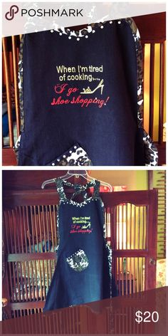 """SEXY APRON """"When I'm tired of cooking....I go shoe shopping"""". Apron. Get some attention in this super cute apron.  Black with rhinestones and camo leopard print. NWOT. If you have any measurement concerns lmk. Would fit most sizes boutique Accessories"""