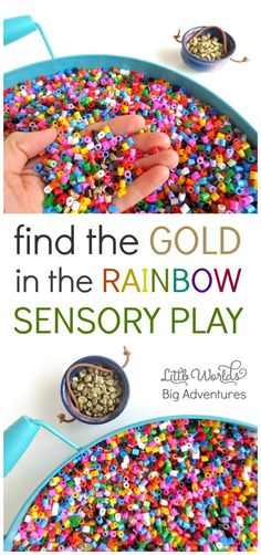 Find the gold in the rainbow! A fun rainbow themed sensory play activity for toddlers and preschoolers celebrating Saint Patrick's Day! Little Worlds Big Adventures Sensory Tubs, Sensory Activities, Sensory Play, Preschool Activities, Play Activity, Rainbow Activities, Rainbow Games, Toddler Sensory Bins, Sensory Rooms