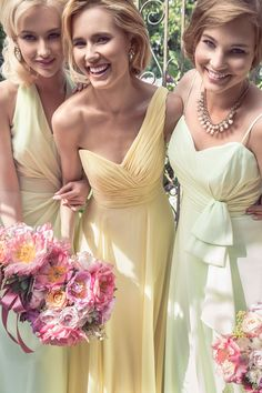 Kelsey Rose 2014 yellow and green bridesmaids dresses.