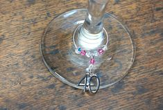 Birthday Wine Glass Charm This beautiful charm makes a lovely gift to celebrate a Birthday Set on a silver plated ring - Pink and clear Swarovski Crystals, silver plated Charm Other Swarovski Crystal colours are available please view ou. 40th Birthday Gifts, Wine Glass Charms, Pink Ring, Silver Plate, Washer Necklace, Swarovski Crystals, Charmed, Handmade, Gift Ideas