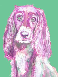 American Cocker Spaniel Wallart print Print from original acrylic watercolour and acrylic art……