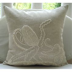 Decorative Throw Pillow Covers Accent Couch Sofa Toss Pillow 16x16 Inch Linen Pillow Mother Of Pearl Embroidered Bedroom Home Decor Octopus