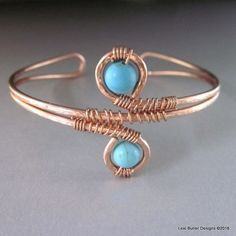 Hand crafted 14 gauge solid copper wire wrap boho style bangle with turquoise beads. This bangle is slightly adjustable, but will be made to fit your wrist.
