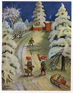 Winter Scenery, Christmas Illustration, Scandinavian Christmas, Folklore, Elves, Winter Wonderland, Christmas Cards, Fate, Paintings