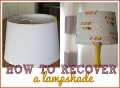 Need a quick refresh for spring? Cover an old lampshade with fabric with this simple tutorial! It's the perfect way to add a pop of color for spring! | #Ad