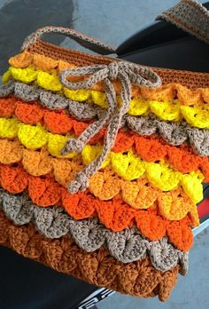Crocodile stitch sling bag - Crochet creation by Farida Cahyaning Ati