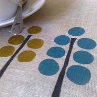 Hand printing on linen