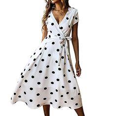 Material:Polyester Silhouette:A-Line Dress Length:Mid-Calf Sleeve Length:Short Sleeve Sleeve Type:Regular Neckline:V-Neck Combination Type:Single Waist Line:High Waist. Elegant Midi Dresses, Casual Dresses, Fashion Dresses, Short Sleeve Dresses, Summer Dresses, A Line Dresses, Short Sleeves, Vacation Dresses, Fashion Hats