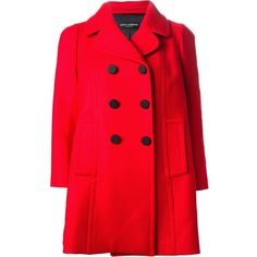 DOLCE & GABBANA double breasted coat (€1.010) ❤ liked on Polyvore featuring outerwear, coats, jackets, coats & jackets, dolce gabbana coat, red double breasted coat, wool blend coat, double breasted coat and red coats