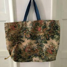 Market Bag in Vintage Sanderson Rural Scenes Linen Fabric /Bag
