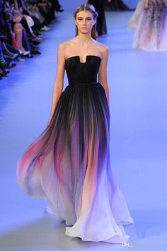 Hottest Elie Saab Ombre Strapless Prom Dresses 2015 A-Line Sleeveless Pleats Evening Gowns Chiffon Formal Dress With Belt Online with $130.84/Piece on Dresstop's Store | DHgate.com