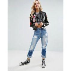 Glamorous Petite Badge Faux Leather Biker Jacket at ASOS. Distressed Leather Jacket, Green Leather Jackets, Black Jackets, Biker Jackets, Jackets For Women, Glamour, Fashion Online, Hoodies, Style