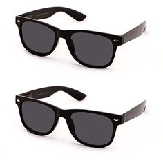 2f6392d7daf4 VWE Classic Outdoor Reading Sunglasses Comfortable Stylish Simple Readers  Rx Magnification Not Bifocal 2 pairs black