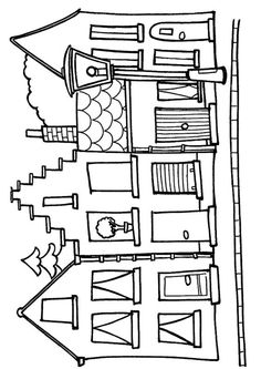 House to color printable House Colouring Pages, Coloring Books, Coloring Pages, House Quilts, Glitter Houses, House Drawing, Paper Houses, Window Art, Applique Patterns