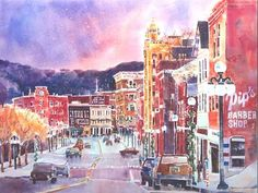Downtown Rutland, VT. Huntoon watercolor.