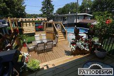 Patio avec piscine hors-terre Best Above Ground Pool, In Ground Pools, Construction Design, Pool Decks, Outdoor Furniture Sets, Outdoor Decor, Patio Design, Swimming Pools, Exterior