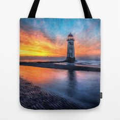 Lighthouse watercolour Sunset  Tote Bag by Adrian Evans - $22.00