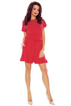 Piros pöttyös ruha M56451 Vintage, Fashion, Moda, Fashion Styles, Vintage Comics, Fashion Illustrations