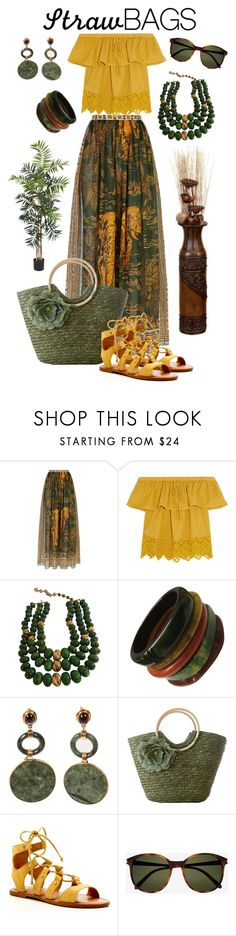 """Straw Bag - The Jungle Goddes"" by giovanina-001 ❤ liked on Polyvore featuring Valentino, Madewell, Castlecliff, Dolce Vita, Yves Saint Laurent, Nearly Natural and strawbags"