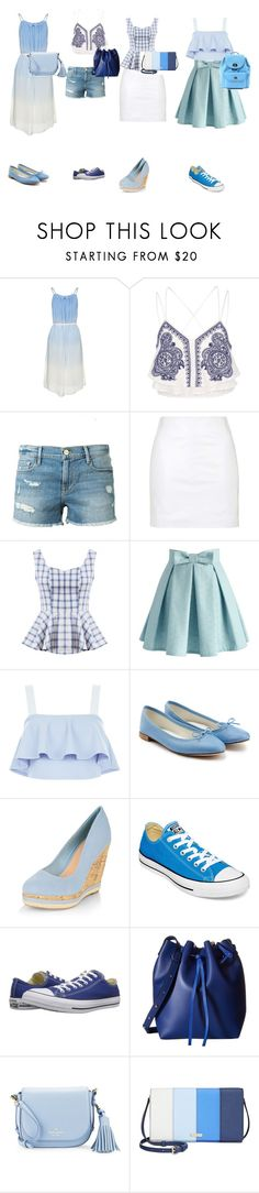 """Blue and White"" by maria-ines-dias on Polyvore featuring River Island, Frame Denim, Topshop, Chicwish, New Look, Repetto, Converse, Gabriella Rocha, Kate Spade and Coach"
