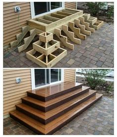 Home Discover Deck stairs - 27 gorgeous patio deck design ideas to inspire you updowny com Outdoor Projects Home Projects Project Projects Backyard Projects Types Of Stairs Deck Stairs Wood Stairs Front Porch Stairs House Stairs Backyard Patio, Backyard Landscaping, Wood Patio, Wood Decks, Backyard Layout, Patio Decks, Landscaping Ideas, Pallet Patio, Landscaping Software