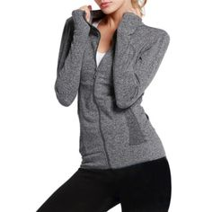 7ea451ffa3e New Women Quick-dry Gym Fitness Running Jogging Yoga Zip-up Jackets Sports  Coat