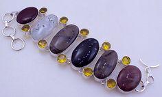 Tree Agate-Citrine-Jasper stone .925 Sterling silver Indian Handmade Bracelet Jewelry by PINKCITYGEMS on Etsy