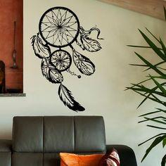 Dream Catcher Wall Decal Dreamcatcher Hippie Native America Wall Decor Feathers Vinyl Graphic Home Art Mural Bedroom Dorm Living Room U004