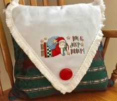 Counted Cross Stitch Santa Claus Pillow by PinesAndNeedlework on Etsy