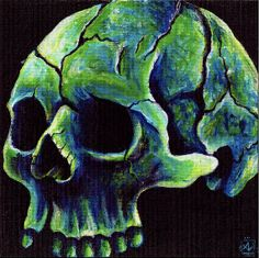 """Skullnight   First run, hand signed and numbered prints of Skullset, a finely detailed, glowing study of the human skull in icy evening hues in acrylic on 8x8"""" canvas. A mirrored painting of Skullset, get the complete set!  STORE: https://tanglefire.etsy.com http://amandaleigh32.wix.com/amandaleigh https://www.facebook.com/artamandaleigh"""