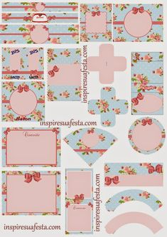 Vintage Roses Shabby Chic printable SET on inspire u a fiesta called Floral Printable Labels, Printable Paper, Party Printables, Free Printables, Shabby Chic, Etiquette Vintage, Diy And Crafts, Paper Crafts, Free To Use Images