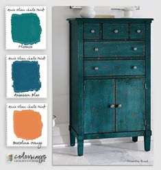 Colorways with leslie stocker annie sloan blues and greens aubusson blue florence barcelona orange a better alternative to chalk paint best type of paint for wood furniture Distressed Furniture, Repurposed Furniture, Annie Sloan Painted Furniture, Orange Painted Furniture, Painted Armoire, Painted Chest, Blue Furniture, Vintage Furniture, Furniture Decor