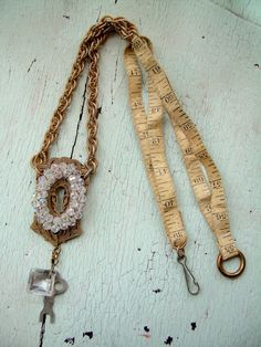 repurposed vintage materials Necklace  by lesliejanson on Etsy