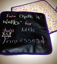 Chalk 'n' Walks - perfect for travelling and for when littlies are out and about. Made from rollable chalkboard fabric and backed with colourful material - the Chalk 'n' Walk also doubles as a bright and funky placemat!