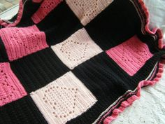 Large Pink and Black Heart Crocheted Baby blanket  I need this pattern