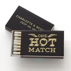 Our ONE HOT MATCH BOXES are designed to light your fire! This item comes with your names/date personalized and can be made in any of our colors and foils! #foil #matchbox #wedding