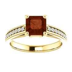 10kt Yellow Gold 6mm Center Asscher Garnet and 26 Accent Genuine Diamonds Engagement Ring...(ST122559:763:P).! Price: $529.99 #diamonds #ring #gold #garnetring #fashionring #jewelry