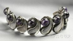 Mexican Silver and Amethyst Bracelet, Antonio Pineda, composed of eight abstract links each set with a cabochon amethyst, lg. 7 in., no. ZZ515, maker's mark.