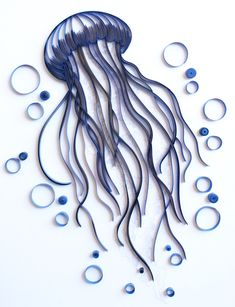 Jellyfish - Unique Paper Quilled Wall Art for Home Decor (paper quilling handcrafted art piece made with love by an artist in California) : Jellyfish Unique Paper Quilled Wall Art for by kaagazByMarlene Quilled Paper Art, Paper Quilling Designs, Quilling Paper Craft, Quilling Patterns, Diy Paper, Paper Crafts, Quilling Ideas, Doily Patterns, Dress Patterns