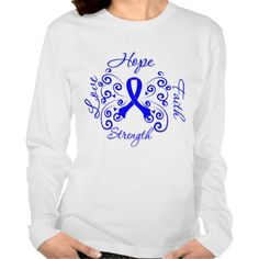 """To advocate and support Rectal Cancer Awareness, we offer our powerful slogan design of """"Hope, Love, Faith and Strength"""" in scripted lettering on t-shirts, apparel and gifts featuring a beautiful butterfly art ribbon in blue with flourishing swirls"""