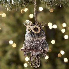 Natural Glitter Owl Ornament