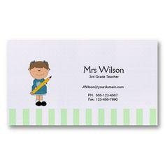substitute teacher business card template cute apple blue